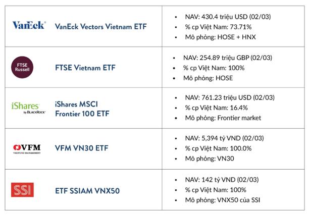 Các quỹ ETF đang hoạt động trên thị trường chứng khoán Việt Nam